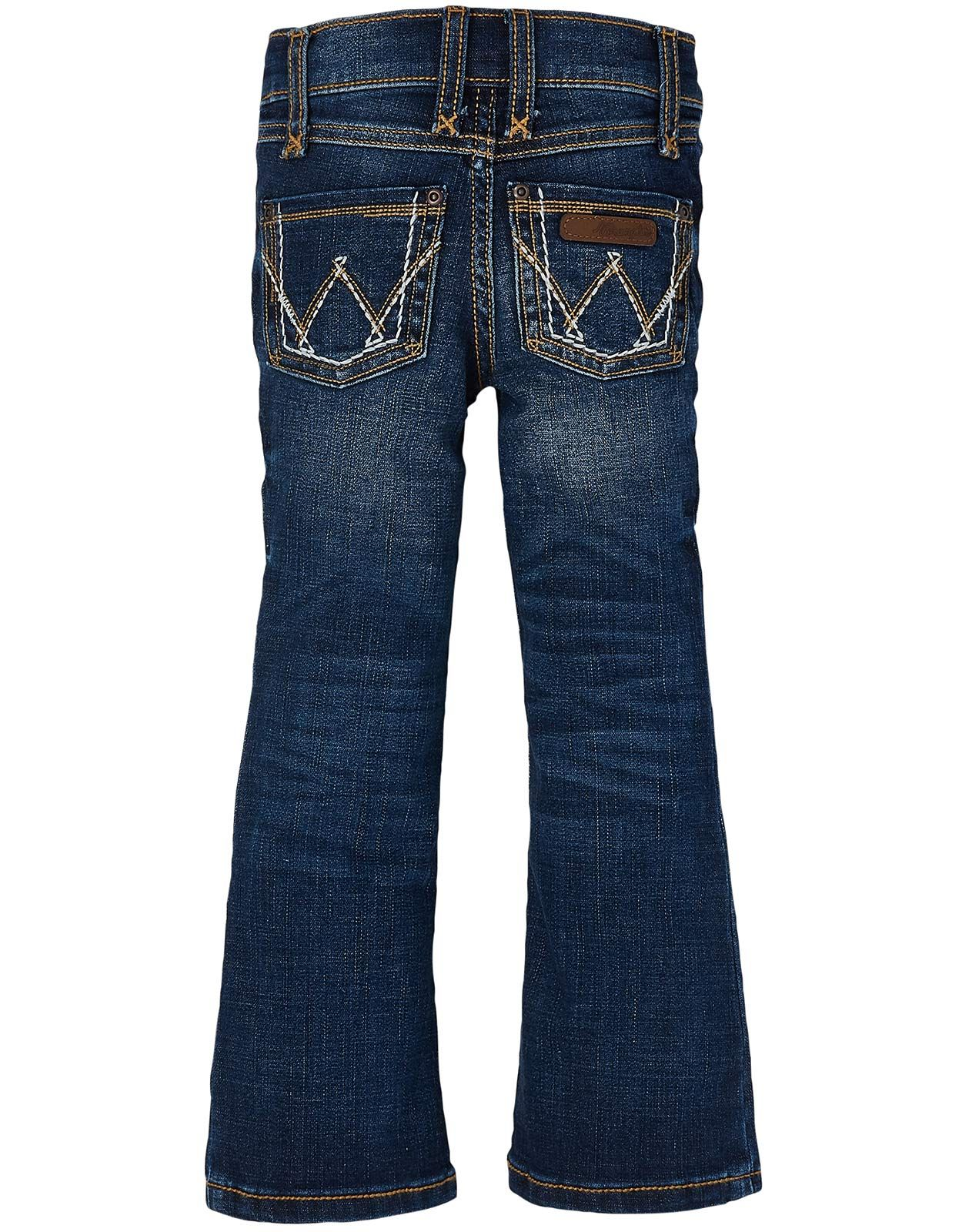 Wrangler Girl's Stretch Low Rise Regular Fit Boot Cut Jeans (Sizes 4-14) - MS Wash