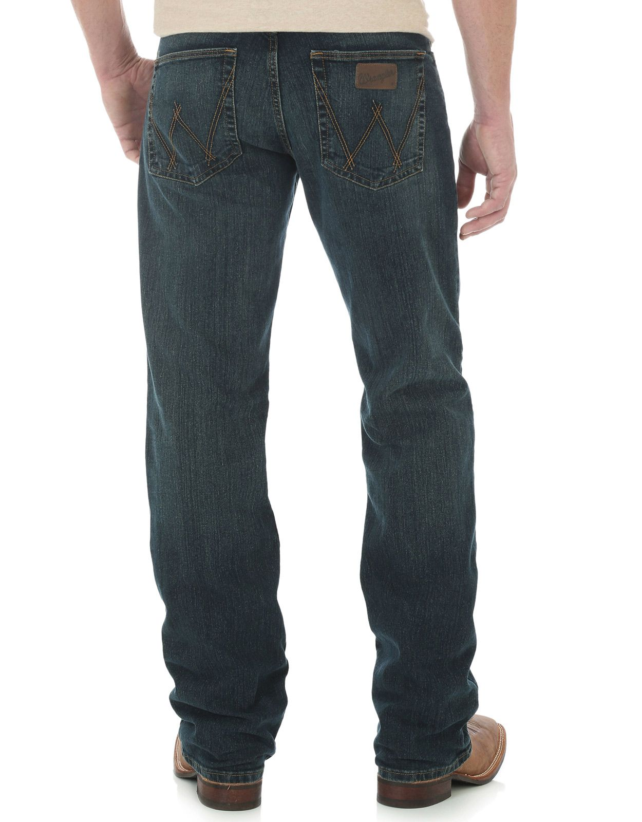Wrangler Men's 02 Advanced Comfort Stretch Low Rise Slim Fit Boot Cut Jeans - Root Beer