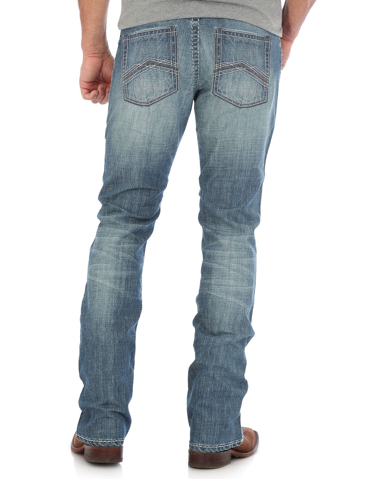 Wrangler Men's 44 Stretch Low Rise Slim Fit Straight Leg Jeans - Red Bluff