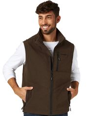 Wrangler Men's Bonded Concealed Carry Zip Trail Vest - Brown Heather