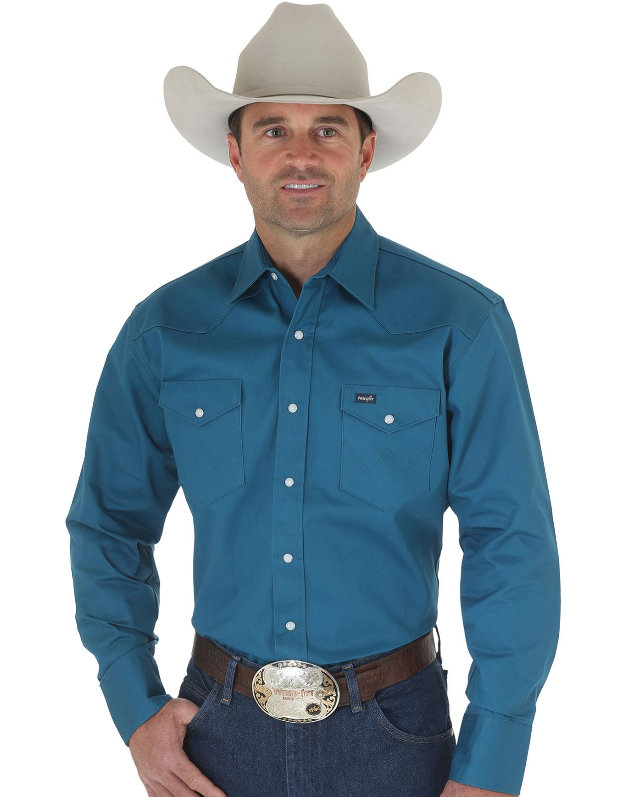 Wrangler Men's Classic Fit Firm Finish Long Sleeve Solid Snap Work Shirt - Dark Teal