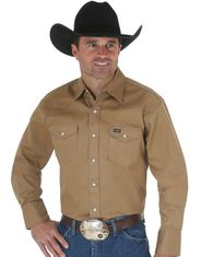 Wrangler Men's Classic Fit Firm Finish Basic Twill Long Sleeve Solid Snap Work Shirt - Rawhide