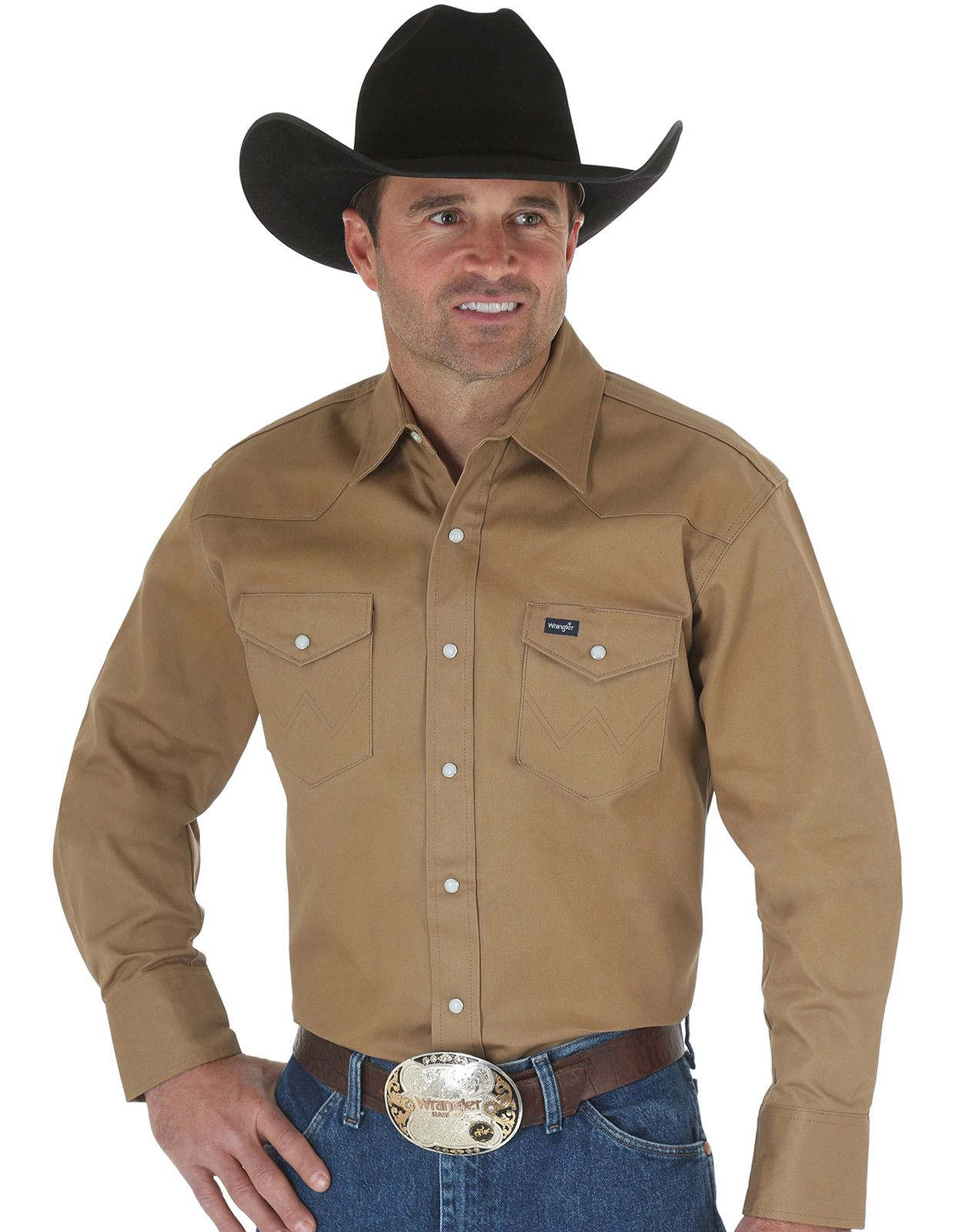 Wrangler Men's Classic Fit Firm Finish Long Sleeve Solid Snap Work Shirt - Rawhide