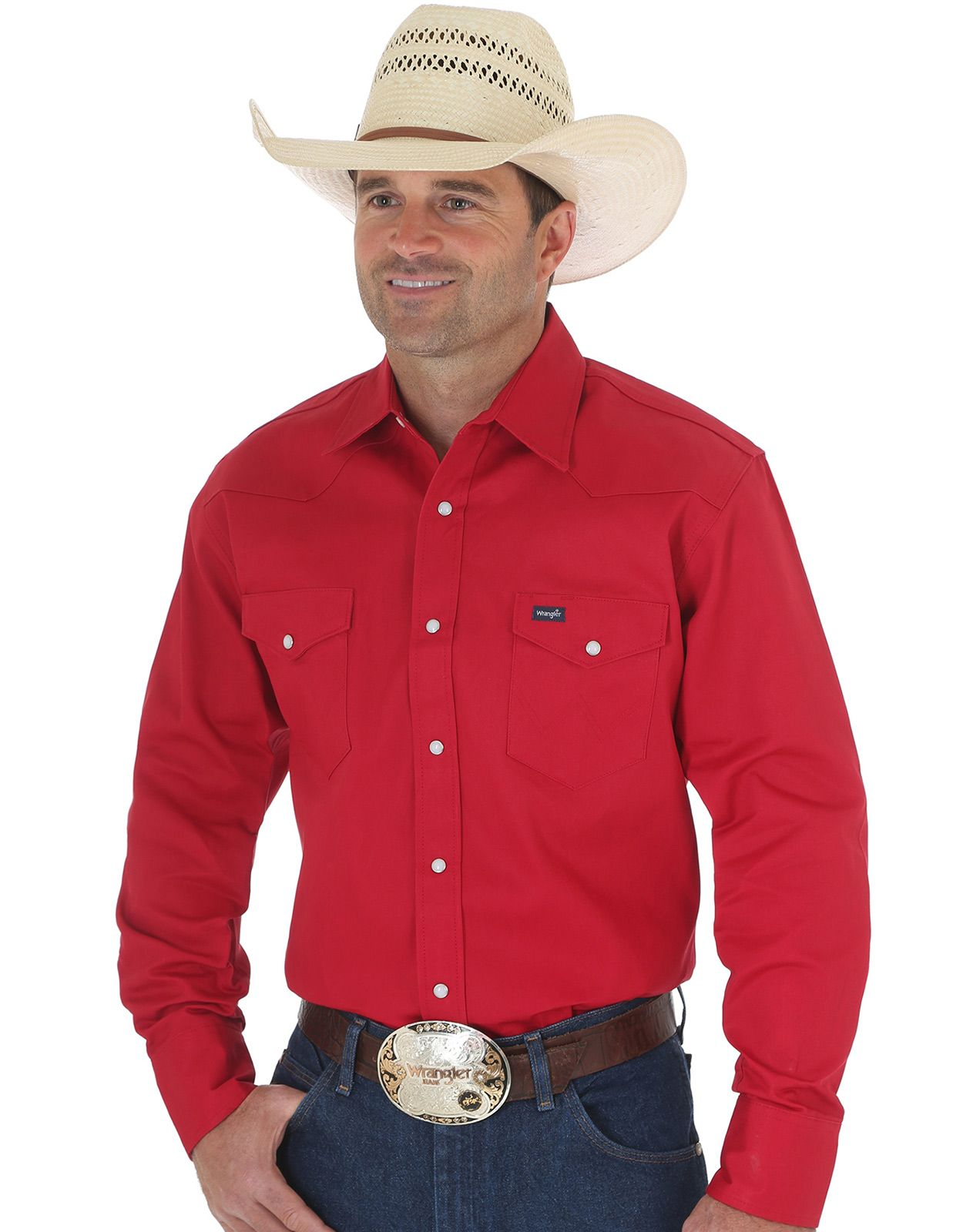 Wrangler Men's Classic Fit Firm Finish Basic Twill Long Sleeve Solid Snap Work Shirt - Red