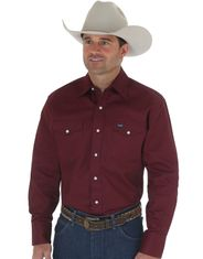 Wrangler Men's Classic Fit Firm Finish Basic Twill Long Sleeve Solid Snap Work Shirt - Red Oxide