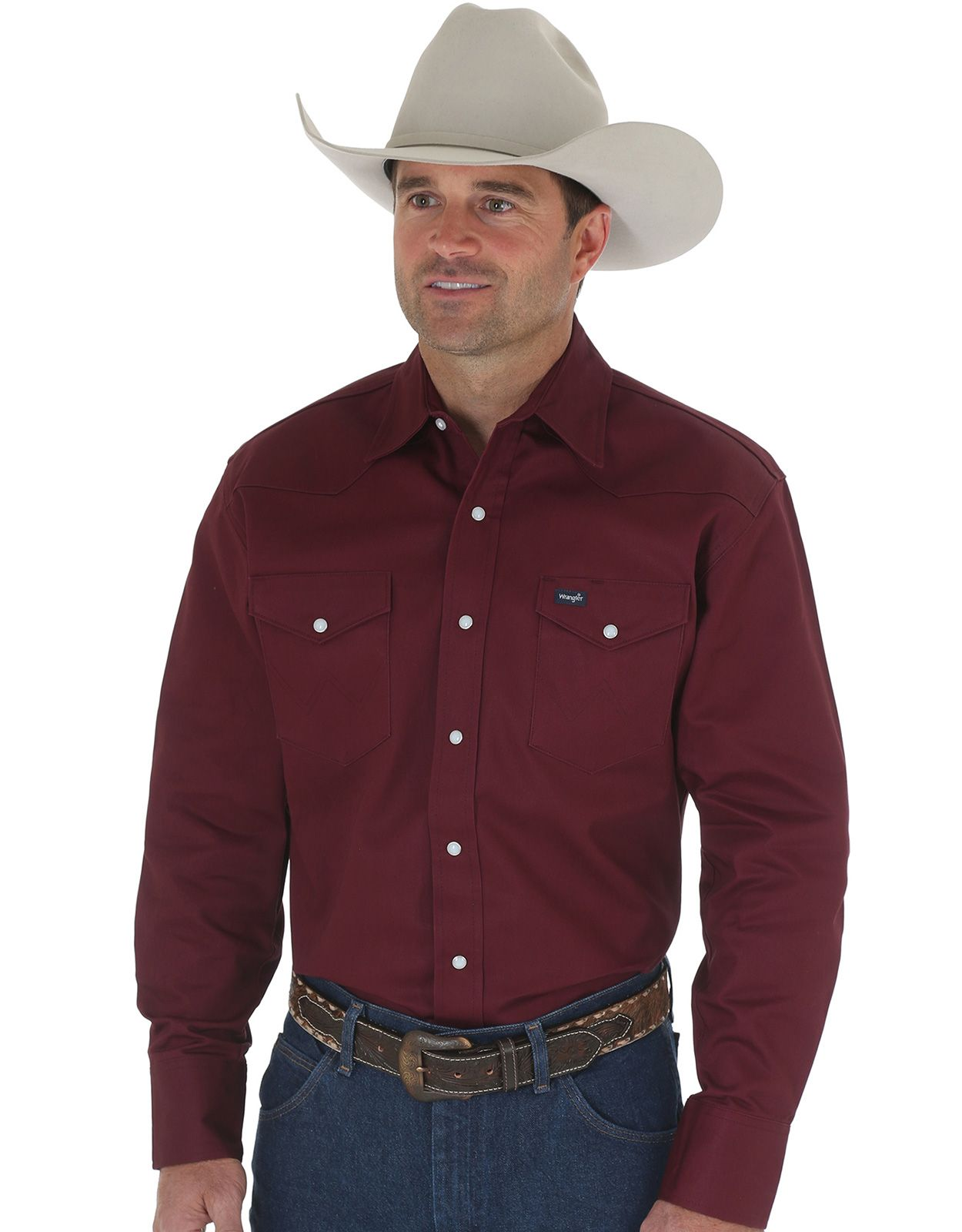 Wrangler Men's Classic Fit Firm Finish Long Sleeve Solid Snap Work Shirt - Red Oxide
