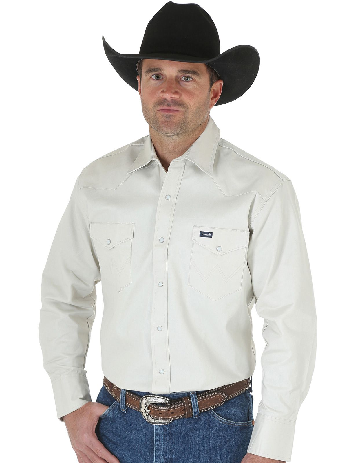 Wrangler Men's Classic Fit Firm Finish Basic Twill Long Sleeve Solid Snap Work Shirt - Stone