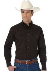 Wrangler Men's Classic Fit Painted Desert Long Sleeve Solid Button Down Shirt - Black