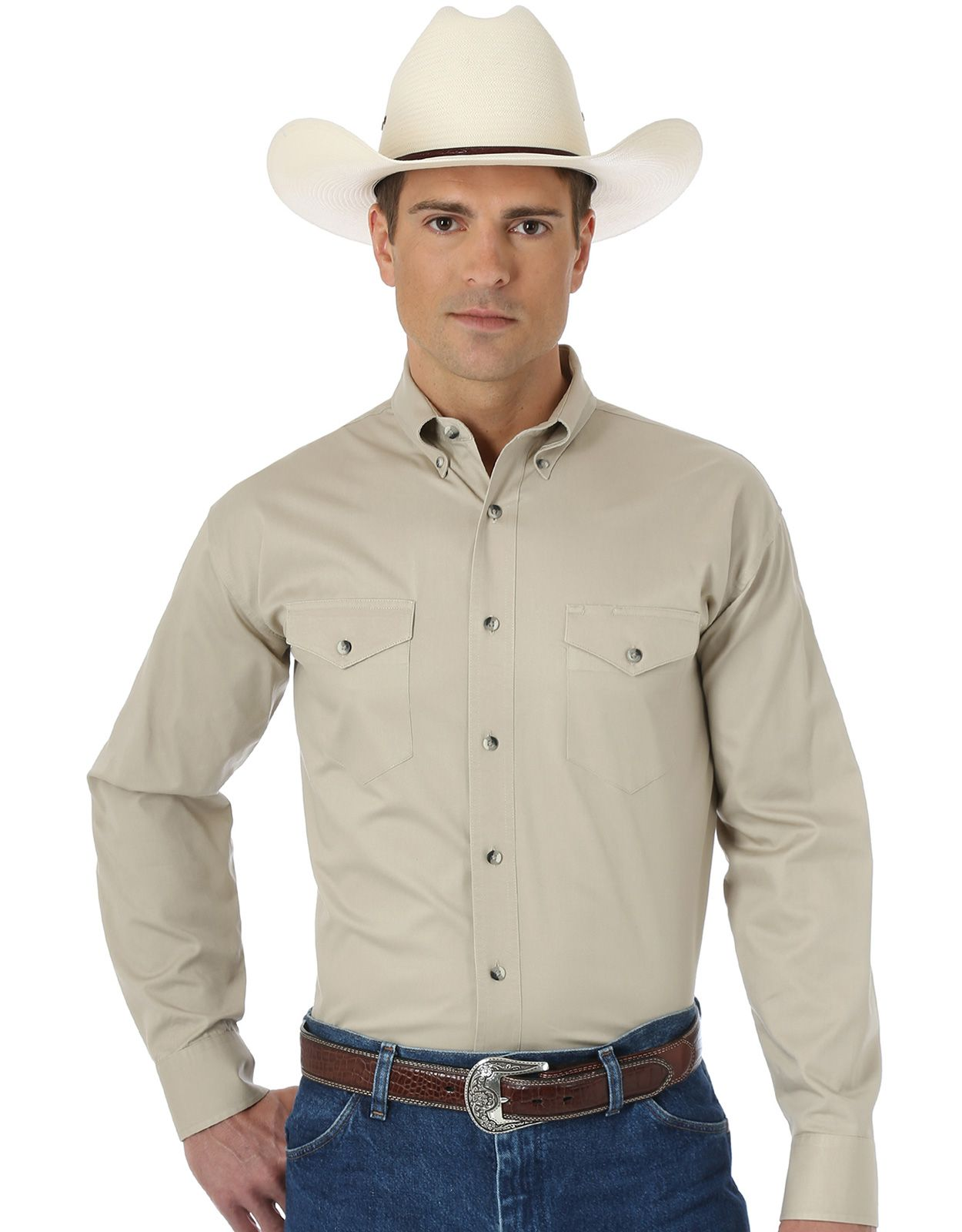 Wrangler Men's Classic Fit Painted Desert Long Sleeve Solid Button Down Shirt - Tan