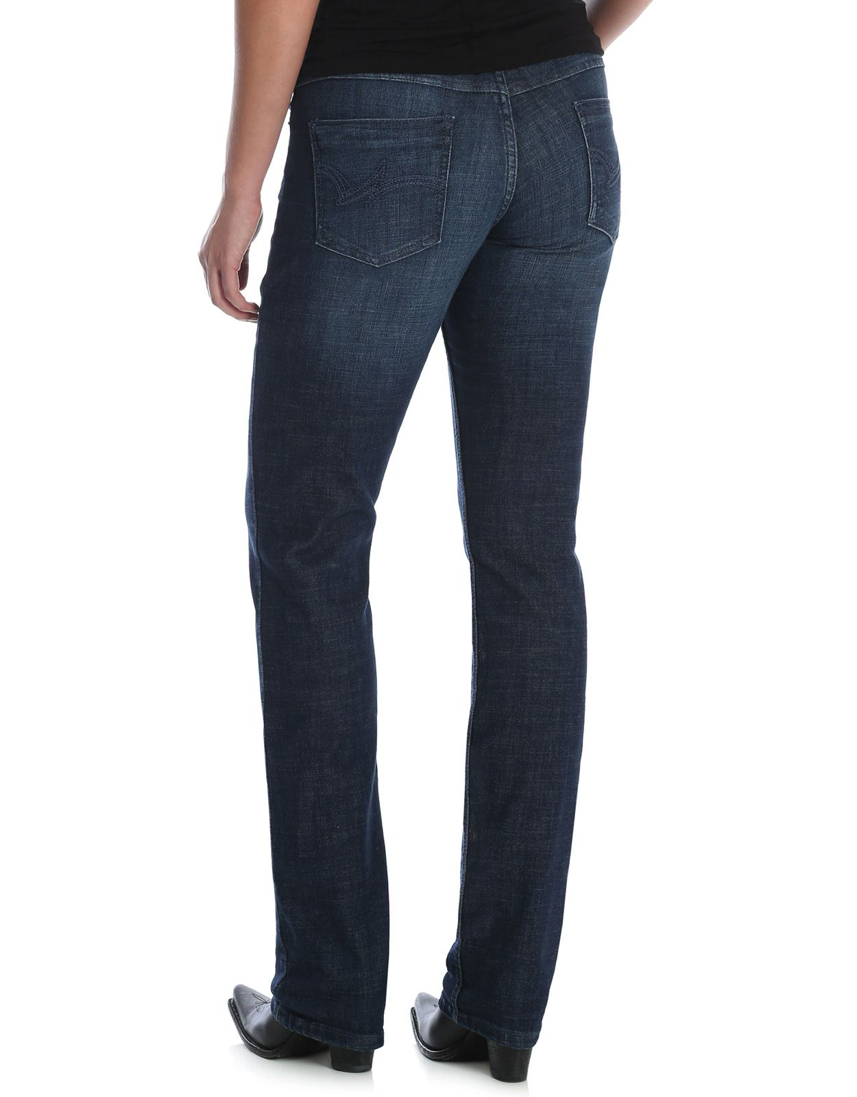 Wrangler Women's Essential Straight Stretch Mid Rise Slim Fit Straight Leg Jean - DS Wash
