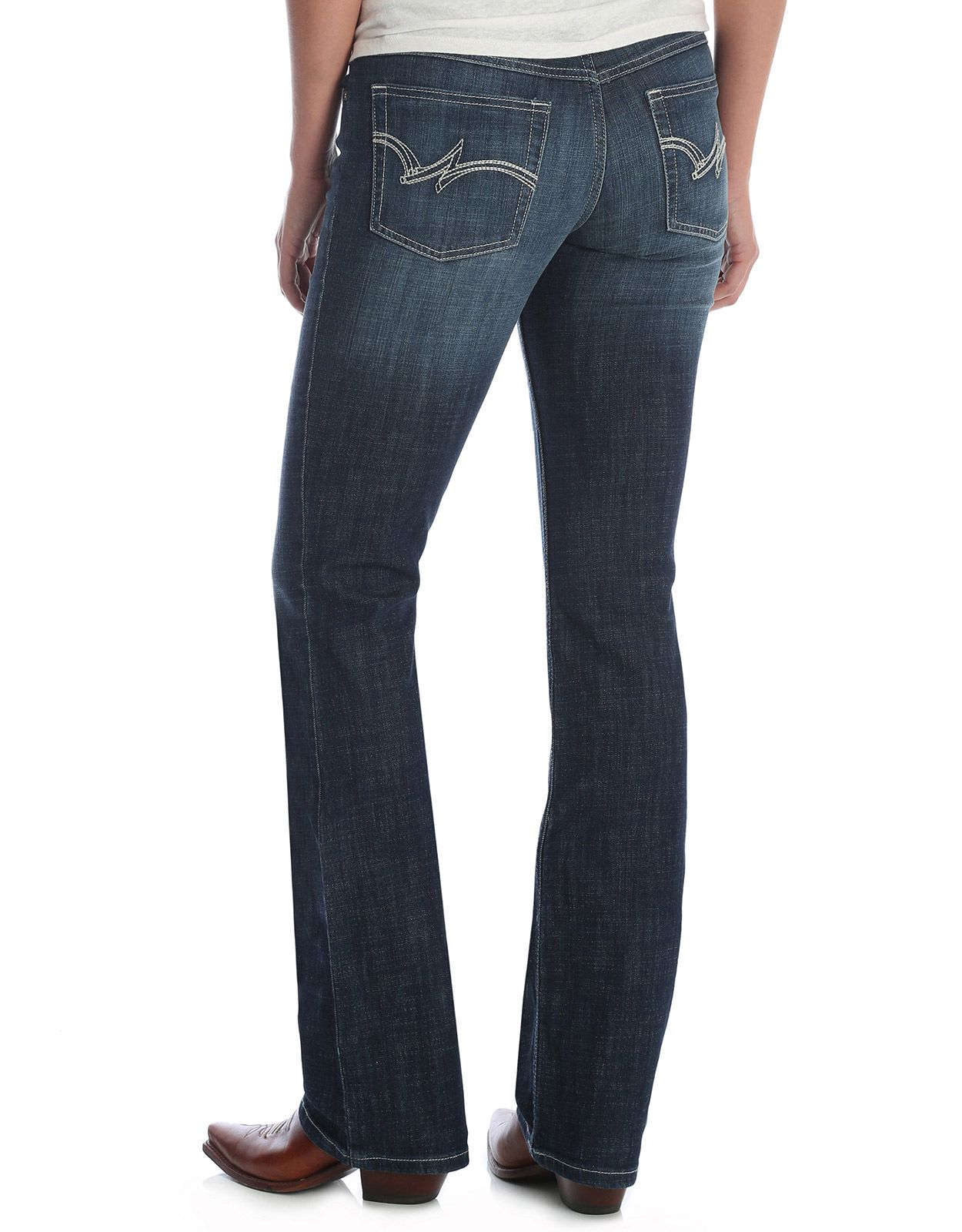 Wrangler Women's Mae Bootcut Stretch Mid Rise Slim Fit Boot Cut Jean - MS Wash
