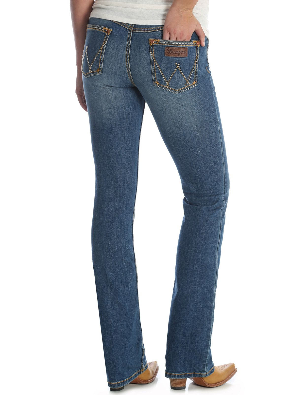 Wrangler Women's Retro Mae Stretch Mid Rise Slim Fit Boot Cut Jean - KM Wash