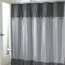 Avanti Braided Medallion Shower Curtain Ensemble-Granite