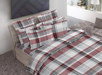 Dormisette Luxury German Flannel Sheets-Red/Grey Plaid