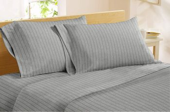 Dormisette Luxury German Flannel Striped Sheets - Light Grey or Indigo Blue