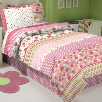 Gingham Pink Stripe Bed In A Bag Set-Twin Size
