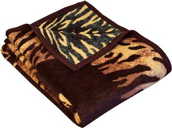 IBENA Jacquard Woven Bengal Tiger Throw Blanket