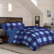 IZOD Buffalo Plaid Tonal Blue Comforter Set
