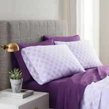 Lemon Tree Solid Purple and Purple Astrid 2 Pack Sheet Set