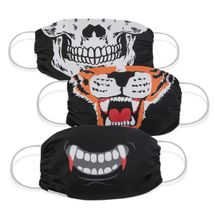Martex Health Adult Halloween Scary Gathered Face Mask 3 Pack