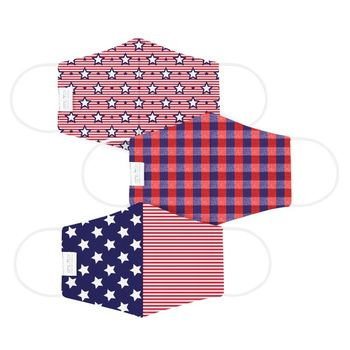 Star Spangled Patriotic Face Mask - 3 Pack Youth or Standard Size