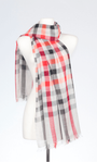 Banaris Cotton Scarf With Cheque Design - Tangerine