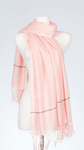 Banaris Cotton Scarf With Knotted Fringe & Pinstripe - Pink