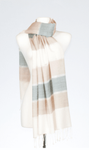 Banaris Silk & Merino Stole With Horizon Design - Dove