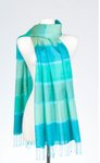 Banaris Silk & Merino Stole With Horizon Design - Verdigris