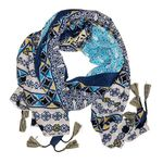 Chloe & Lex Jana Cotton Scarf - Navy/Yellow - SOLD OUT