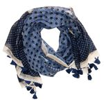 Chloe & Lex Milana Fringed Cotton Scarf - Navy