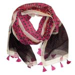 Chloe & Lex Milana Fringed Cotton Scarf - Raspberry Pink SOLD OUT