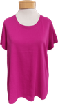 Eileen Fisher Organic Cotton Jersey U Neck Tee - Cerise (Size XS & S)
