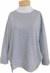 Eileen Fisher Organic Cotton Speckled Knit Crew Neck Long Top - Moon