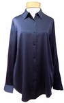 Eileen Fisher Stretch Silk Charmeuse Classic Collar Shirt - Midnight (Size L)