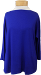 Eileen Fisher Tencel Jersey Bateau Neck 3/4 Sleeve Top - Royal (Size L)
