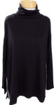 Eileen Fisher Tencel Stretch Terry Funnel Neck Top - Black