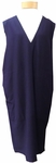 Eileen Fisher Washable Stretch Crepe Deep V-Neck Knee Length Dress - Midnight