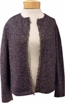 Eileen Fisher Wool Recycled Cotton Round Neck Cardigan With Fringe - Midnight