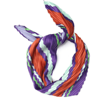 Elizabeth Gillett Pleated Bandana Scarf - Purple Stripe