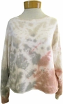 Fabina Raw Edge French Terry Cropped Tie Dye Sweater - Pink/Grey/Neutral - (Size M)