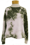 Fabina Raw Edge Tie Dye French Terry Crop Sweatshirt - Olive - SOLD OUT