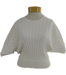 Fate Stripe Knitted Dolman Sleeve Sweater - Cream (Size L)