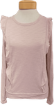 Lilla P Ruffle Trim Jewel Neck Tee - Iced Lilac - (Size S) - SOLD OUT