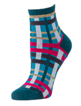 Little River Metallic Abstract Plaid Anklet - Teal Multi