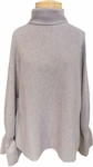 Margaret O'Leary Smocked Cuff Funnel Neck Sweater - Taupe