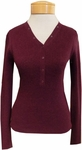 Margaret O'Leary Waffle Knit Henley - Pinot (M)