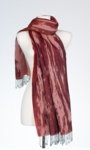 Banaris Merino & Cotton Stole With Abstract Waterscape Design - Burgundy