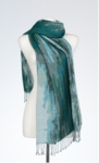 Banaris Merino & Cotton Stole With Abstract Waterscape Design - Teal