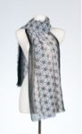 Banaris Merino & Silk Stole With Star-Lily Print - Black SOLD OUT